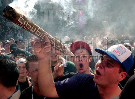 A huge joint is passed around at a rally in Vancouver, B.C. Canada.