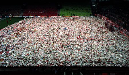 Flowers fill Anfield Stadium in Liverpool, England in memory of those who died on April 15, 1989. The tragedy occurred at the Hillsborough football stadium in Sheffield, England, resulting in the loss of 96 lives.